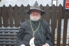 … where the Gard for the day (it's Wizards and Dragons weekend) awaits his train. Gard He casts spells, not does spelling (he said)!