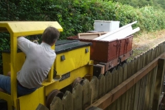 In between trains, Tony runs No. 9 up the Upper Corris branch siding with old stored material recovered from the stable in Corris (being cleared to enable Corris United Football Club to re-enter the local league and use the stable area as changing rooms), for disposal.