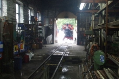 Saturday, 3.8.2019. No. 7 emerges from the Engine Shed into bright sunshine …