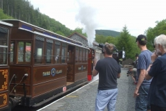 … so the crew arrange for Sir Gareth to travel in the carriage behind No. 7, as she drives the train towards Corris.
