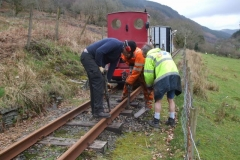 After lunch, it is a case of working back up the line, packing ballast under the new sleepers …
