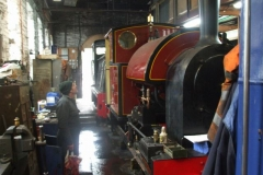 In the Engine Shed, Trefor has fired No. 7 and watches out for any steam leaks that need sorting before its hot boiler test …