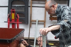 … and Graham holds his end up to allow Charles to fix a protective plate to the newly restored End Door Heritage waggon.