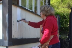Meanwhile, Kathy has resumed the re-painting of the Signal Box ….