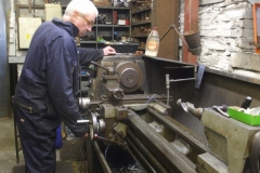 Tuesday, 8.10.2019. Bob continues turning down spacers for the Heritage waggon …