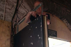… before Chris mounts the completed fabrication on the top of the Engine Shed doors …