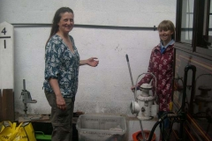 … while at the other end of the train, John's wife and daughter (Jane & Kate) have been sweeping them out.