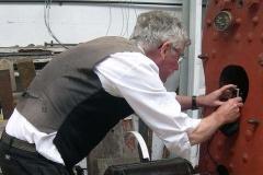 Alan takes photos inside No. 10's firebox …