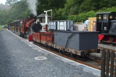 With Heritage waggons coupled up, the late running 10.30 empty coaching stock departs Maespoeth for Corris.