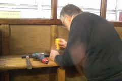 … Derek is starting to dismantle seats in the south compartment of carriage No. 20 as part of a project to provide a Guard's compartment within it …