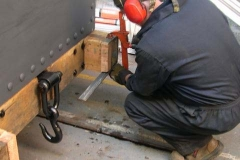 With the body re-fitted, Adrian starts fabricating new steel bands around the dumb buffers …
