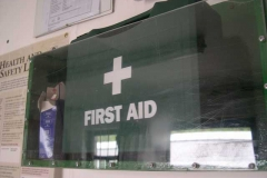 Bigger First Aid boxes have been made, painted and fitted throughout, to include eye wash facilities.