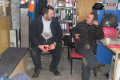 Sunday, 10.1.16. Patrick and Trefor chat before continuing work towards No. 7's boiler exam ...