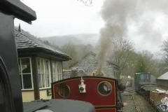 Having passed, No. 7 prepares to set of up the line on the first of several trips to Corris and back.