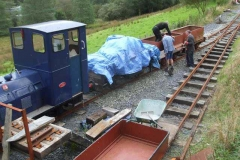 Tuesday, 12.9.2017. Further ballasting has taken place on the approach to the Carriage Shed at Maespoeth …