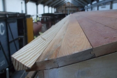 At Maespoeth, the edge formers on the roof of carriage No. 23 have been finished, ready for the roof covering …