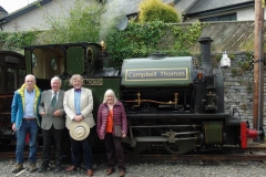 A further photograph was taken by Richard Greenhough at Corris of the group with Chris Magner, who had written a book on the characters (including Campbell Thomas) whose combined efforts saved the Corris locomotives and had created the conditions by which the Talyllyn Railway might eventually become the first voluntary run preserved railway in the world.