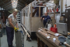 Friday, 3.9.2021. Sara helps Andy and Ian working on carriage No. 24 ...