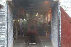 Saturday, 4.9.2021. Corris Gala Weekend. There is a fine fug as two locomotives are lit up in the Engine Shed ...