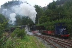 The locos top and tail today (due to lack of space in Corris) and the crews practice storming Maespoeth Bank but decide not to repeat the experiment for practical reasons.