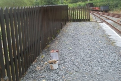 ... while Tony has been re-staining the platform paling fence.