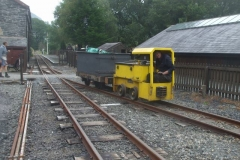 ... while to save time, Ben has taken No. 9 and waggon up to Corris to open gates, and retrieve hedge cuttings from the churchyard (to help keep loco crews drier!).
