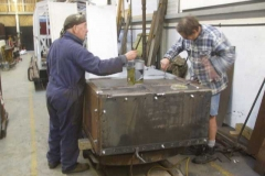 … before being joined by Tony to paint the completed underside of the Drop Side Waggon body in primer.