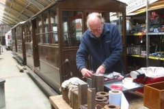 "Monday, 30.11.2020. Dave arrives on ""his"" day to put a final gloss coat on two sides of carriage No. 23."