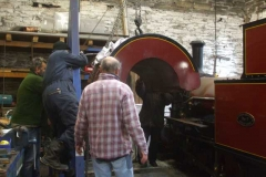 Saturday, 5.12.2020. A group of contortionists remove the saddle tank from loco No. 7 …