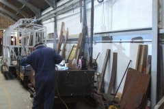 Thursday, 26.11.2020. Adrian casts his shadow as he works on the Drop-Side Heritage Waggon body restoration.
