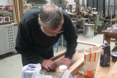 While in the Carriage Shed, Derek is finishing off the rear seat support for the vestibule in carriage No. 22 …