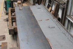 … Ade has started to fit the last steel sheet in the body of the Queen Mary waggon …