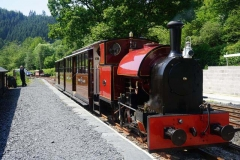 As an experiment, No. 7 has run around the train at Maespoeth, here waiting in the South Platform for passengers while they are attending the Shed Talk …