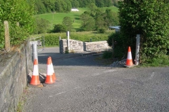 By the evening, two posts at Braichgoch Farm Accommodation crossing have been replaced …
