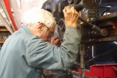 … while nearby, Bob drills carriage brake fittings to take oilite bushes …