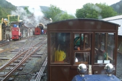 … while the others travel in the passenger accommodation, and Bob brings No. 7 out of the Engine Shed.