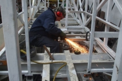 Thursday, 13.6.2019. Adrian makes adjustments to floor supports in the frames of carriage No. 24 …