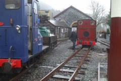 … just as the P Way gang arrive at the Stop Board, having been thoroughly rained off from their task up the line.