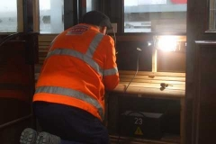 … while in the Carriage Shed, Pete is fixing slats to the vestibule seat in carriage No. 23 …