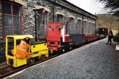 "Sunday 14th March. The ""Sundae Gang"" start the day with a shunt to assemble a suitable works train for the day. Steve is at the controls of loco No. 9 under social distanced supervision of Jack, with Luke acting as shunter"