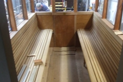 … and the seats in the south saloon of carriage No. 23 are ready to receive varnish.