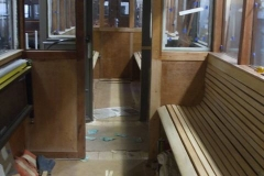 … while the seats in the north saloon of carriage No. 23 are now also ready to receive varnish.
