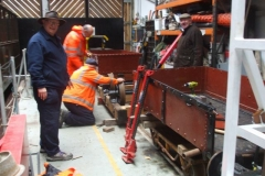 Meanwhile, in the Carriage Shed one Heritage waggon has had its body removed, and the frames turned over …