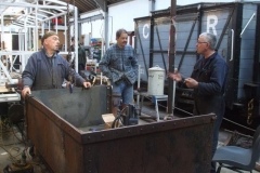 During the day, Bob from Brunswick Ironworks (Caernarfon) calls by to discuss rivets with Adrian …
