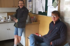 At Maespoeth, Tony and Ben take their lunch break from working on the permanent way towards Corris.