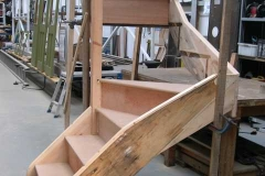 Wednesday, 11.6.14. The new (and refurbished) stairs to give access to the mezzanine floor in the Carriage Shed are taking shape!