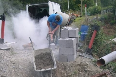 Thursday, 10.9.15. … and next morning, was filling his van with dust as he cuts blocks …