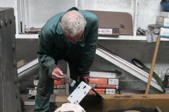 "Tuesday, 13.9.2016. Bob primes modified corner brackets for the frames of the ""Queen Mary"" waggon …"