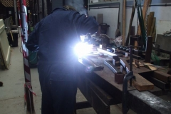 In the Carriage Shed, Adrian is welding up carriage roof ribs for No. 24 …