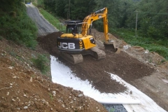 Thursday, 10.9.2020. Fill from Dolgellau is spread on geotextile …